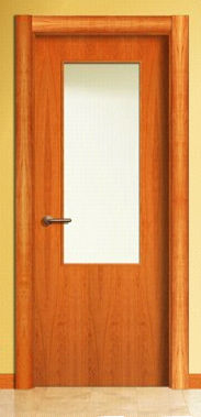 wooden swing door with small window pane LISA LV1VA BAMAR PUERTAS