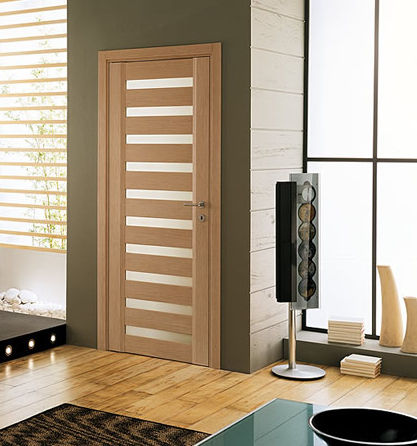wooden swing door with small window pane TETA VV ACEM