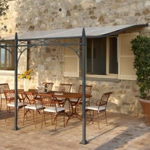 wrought iron pergola (PVC canvas cover) PORTOFINO ROLAND VLAEMYNCK