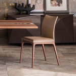 contemporary chair / fabric / beech / walnut