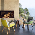 Contemporary chair / metal / leather / wooden EAST RIVER  vitra USA