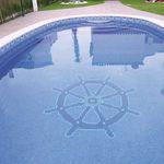 pool mosaic tile / floor / glass / patterned