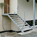 straight staircase / stainless steel steps / stainless steel frame / without risers