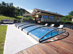low swimming pool enclosure / telescopic / motorized / hide-away
