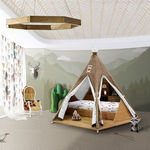 single bed / original design / wooden / fabric