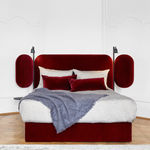 double bed headboard / contemporary / fabric / leather