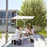 stainless steel patio umbrella / polyester / with built-in light