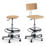 metal task stool / beech / adjustable / with footrest