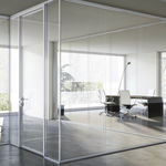 Fixed partition / glass / acoustic / frameless I-WALLSPACE Fantoni