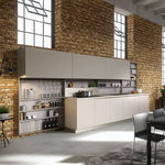 contemporary kitchen / wood veneer / lacquered wood / island
