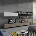 contemporary TV wall unit / glass