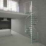 Spiral staircase / metal frame / glass steps / without risers REFLEX Alfa Scale