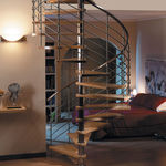 Spiral staircase / wooden steps / with risers NOX INOX Escalkit