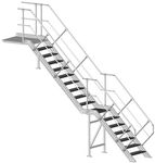 straight staircase / metal steps / metal frame / without risers