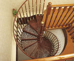 Spiral staircase / metal frame / metal steps / without risers WITH 3 BALUSTERS PER TREAD British Spirals & Castings
