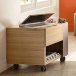 contemporary bedside table / oak / melamine / rectangular