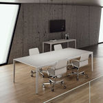 boardroom table / contemporary / wooden / cast aluminum