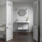 wall-mounted bathroom mirror / contemporary / round / steel