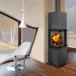 Wood heating stove / contemporary / cast iron / stainless steel ESQUINA ROMOTOP