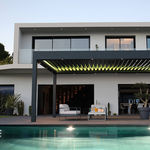 self-supporting pergola / wall-mounted / wooden / aluminum