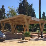 wooden carport / commercial / with integrated photovoltaic panel