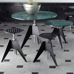 contemporary stool / steel / cast iron / commercial