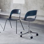 contemporary visitor chair / chrome steel / oak / stacking