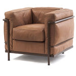 Contemporary armchair / leather / steel / upholstered LC2 MAISON LA ROCHE Cassina