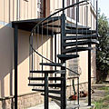 exterior staircase / spiral / frame / with metal steps - CAMELIA ZINC