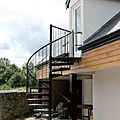 exterior staircase / spiral / with metal steps / frame - CAMELIA ZINC - SPECIAL
