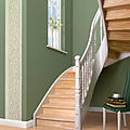 half-turn staircase / lateral stringer / wooden steps / classic style - Meisterstück