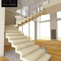 open staircase / half-turn / hanging / stone - ART SURFACE