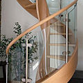 spiral staircase / lateral stringer / wooden steps / frame - LILLA GLASS
