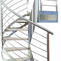 spiral staircase / lateral stringer / wooden steps / metal frame - ORTENSIA INOX