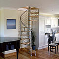 spiral staircase / stainless steel frame / wooden steps - NINFEA INOX