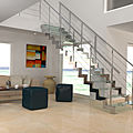 straight staircase / lateral stringer / with a stainless steel frame / glass steps - LOUNGE