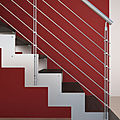 straight staircase / lateral stringer / stainless steel frame / wooden steps - LASER