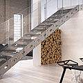 straight staircase / lateral stringer / steel frame / marble steps - RIALTO