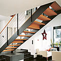straight staircase / lateral stringer / wooden steps / metal frame - FERRO