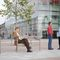 public bench / traditional / wooden / steel
