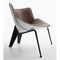 contemporary armchair / fabric / leather / cast aluminum