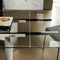 contemporary table / glass / stainless steel / lacquered steel