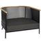 contemporary armchair / fabric / teak / metal