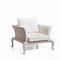 traditional armchair / fabric / rattan / garden