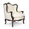 Louis XV style armchair / fabric / leather / oak