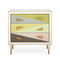 contemporary chest of drawers / brass / glass