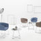 contemporary visitor armchair / fabric / metal / sled base