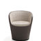 contemporary armchair / fabric / leather / green