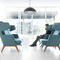 contemporary armchair / fabric / leather / commercial