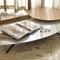 contemporary coffee table / brass / marble / curved